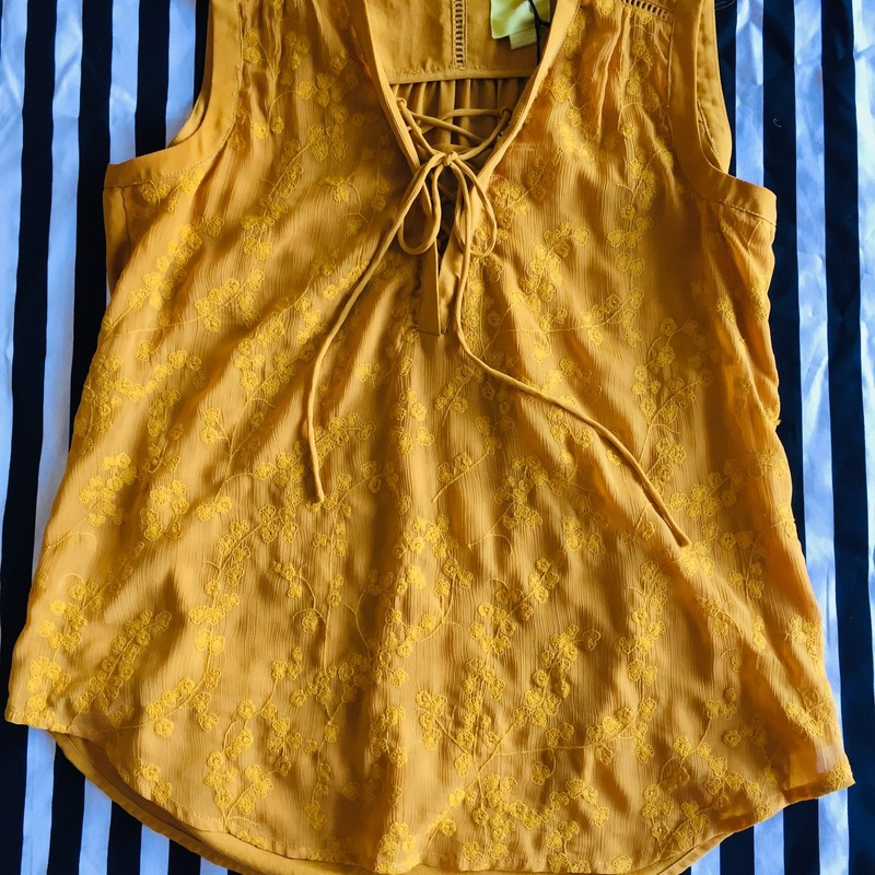 Maeve sleeveless top with detailed front. Lightly worn with no signs of damage. Made of cotton and polyester. Size 12; Yellow