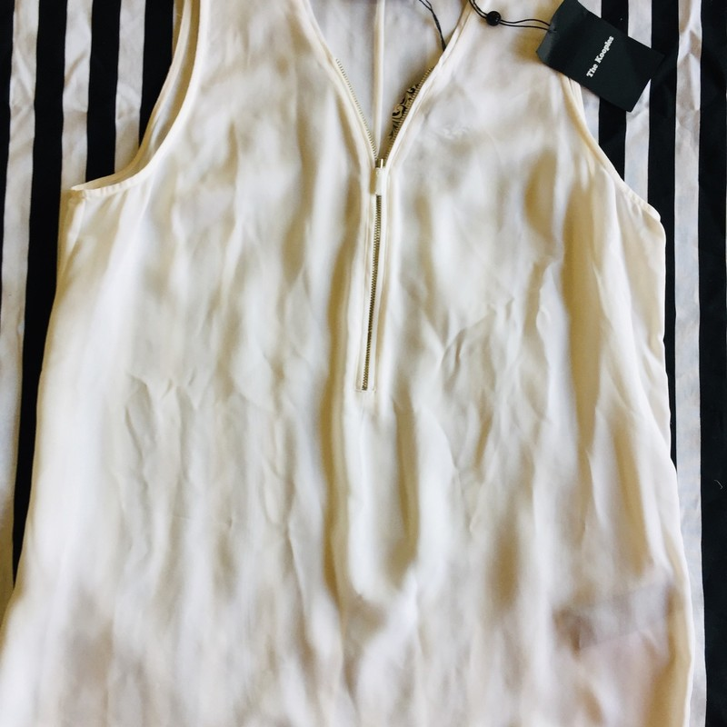 Kooples sleeveless zip tank. Never worn with original tags. 100% silk. Perfect for layering! Size L; White