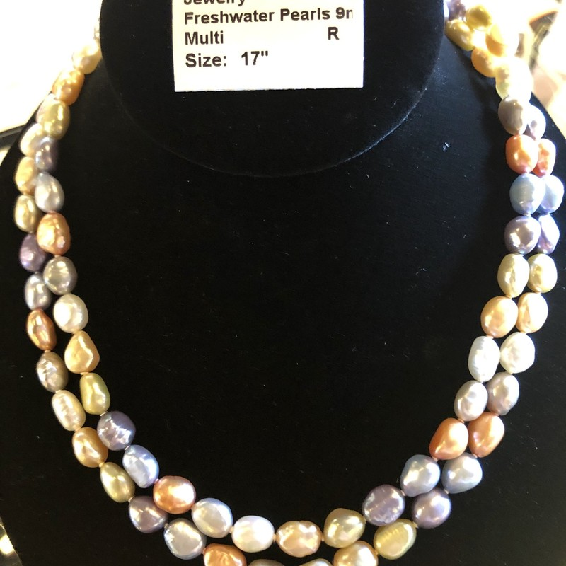 "Beautiful Multi-Colored Freshwater Pearls 8-9mm, 17"". Sterling clasp."