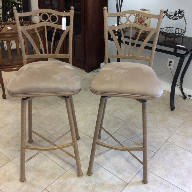 "This duo is in fabulous condition. The bases are iron and have a painted taupe colored finish.The seats are upholstered in a taupe microfiber and they are qute comfortable. They stand 30"" tall and they swivel!!!"