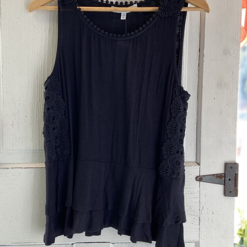 NEW Blk Eyelet Ruff Tank<br /> Black<br /> Size: Medium
