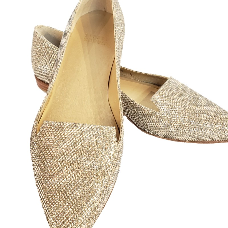 NEW Stuart Weitzman Gold Glitter Flat<br /> Gold Textured Fabric Upper, Leather Sole<br /> Made in Spain<br /> <br /> Size: 6<br /> NEW without Box