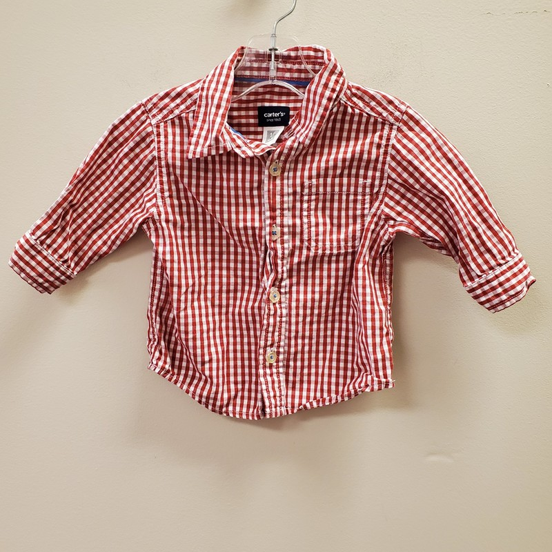 Carters LS, Red, Size: 12 Mos B