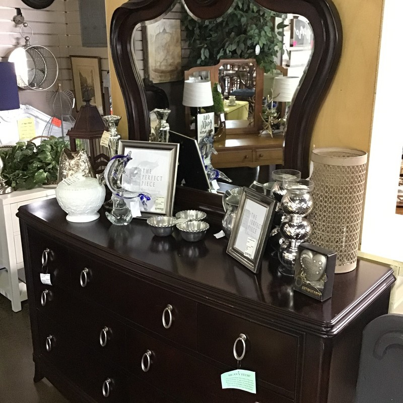 "Beautiful dresser with mirror by Legacy Furniture. Features a ""key hole"" at the top of the mirror and 7 drawers with silver oval drawer pulls.<br /> <br /> Matches #24462, #24463, #24464<br /> Dimensions:  58"" x 17"" x 75"" (w/mirror)"