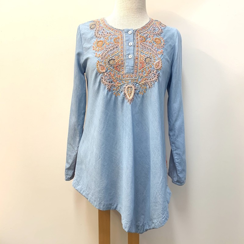 Soft Surroundings Asymmetrical Tunic Top<br /> Blue and Pink<br /> Size: XS