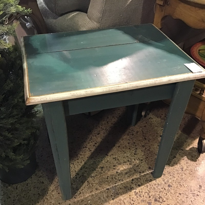 "Nice rustic wooden end table that has been painted green and the top lip of the table is a distressed cream.<br /> <br /> Dimensions:  17.5""W x 23""D x 23""H"