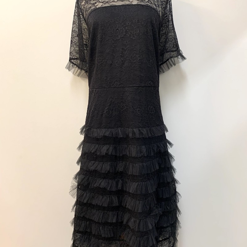 Eloquii Dress<br /> Ruffled lace<br /> Black<br /> Peter pan collar<br /> Size: 22