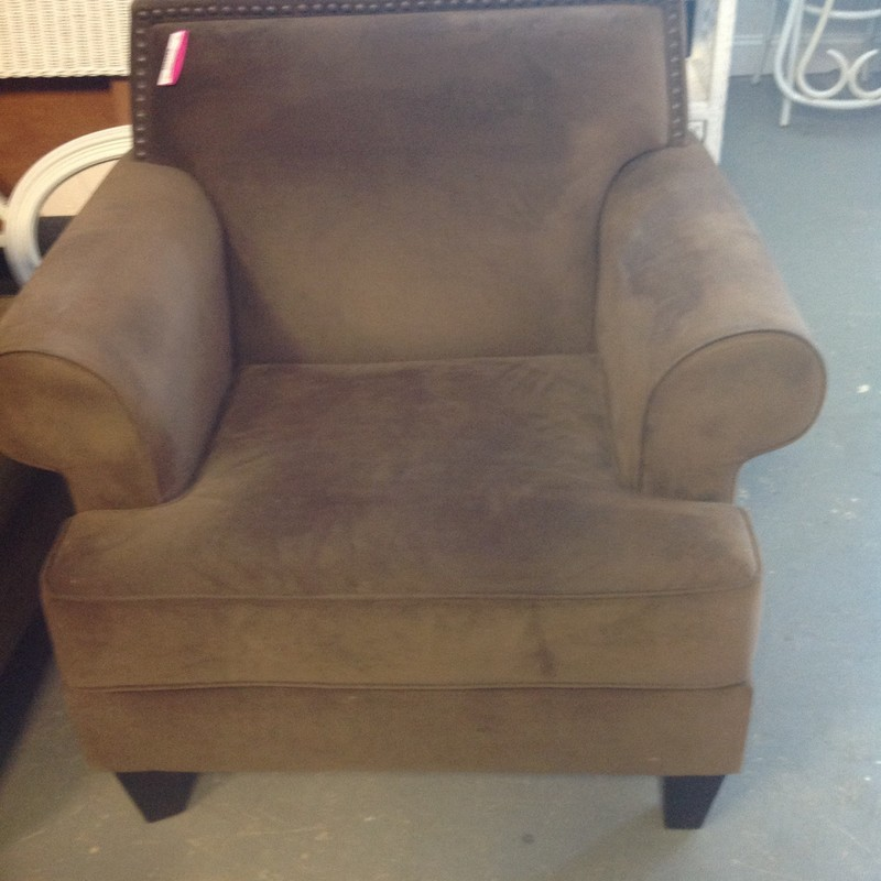 Velvet & Nailhead Chair, Brown, Size: 39x38 In