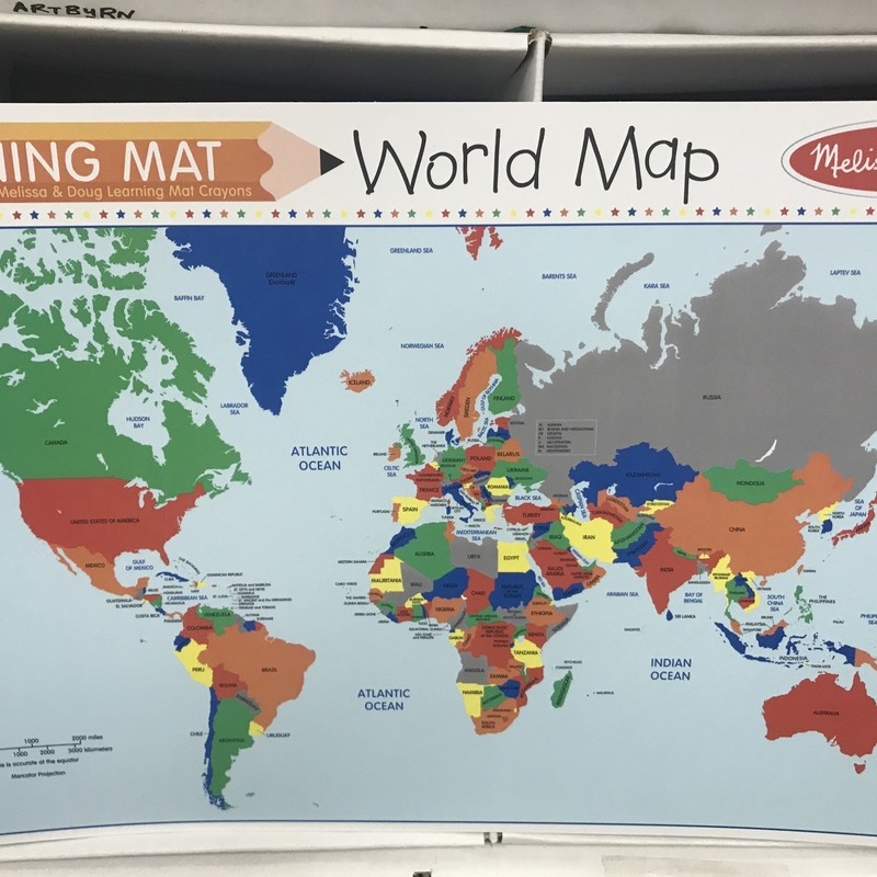 Learning Mat World Map, 8+, Size: Schoolage