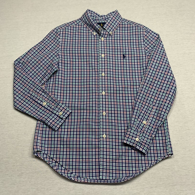 Plaid poplin shirt with button down collar