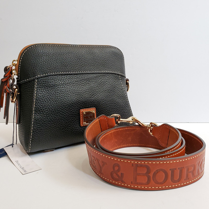 Dooney & Bourke<br /> Black leather with Brown Guitar Strap<br /> NWT<br /> Original Retail $298