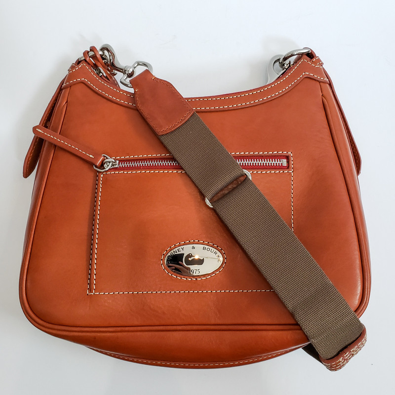 Dooney & Bourke<br /> Brown Leather Crossbody<br /> Fabric Strap
