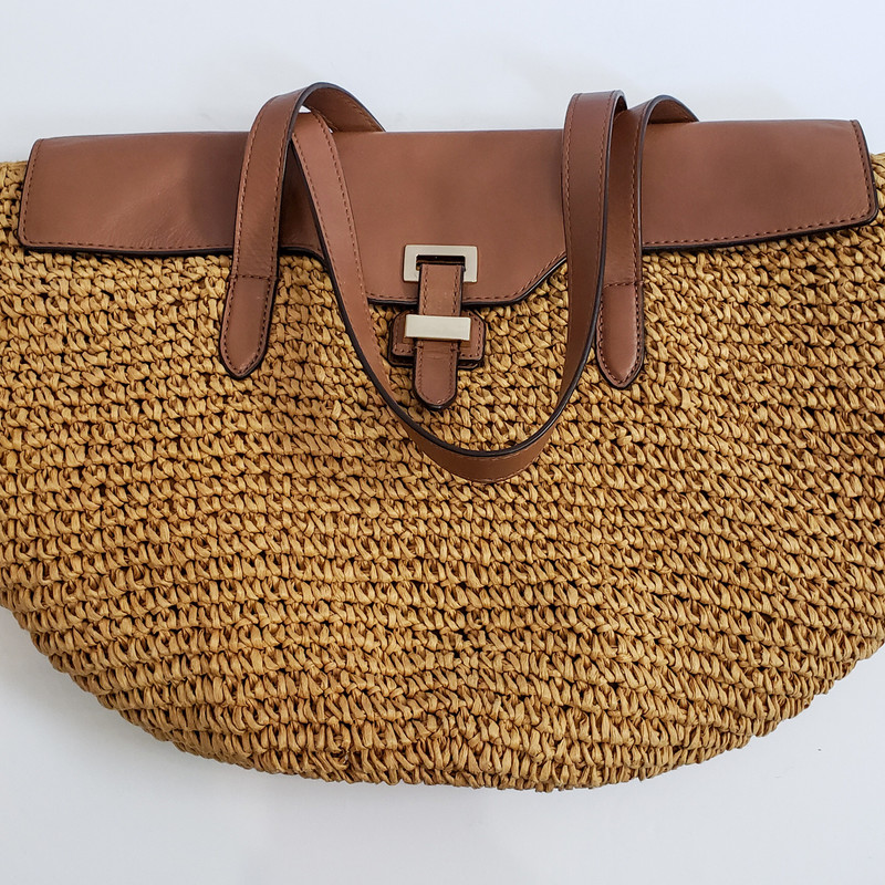 Michael Kors<br /> Tan Woven and Brown Leather<br /> Shoulder Bag