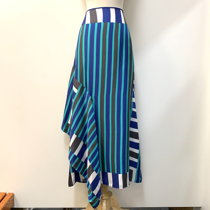 Diane Furstenberg Skirt<br /> 100% Silk<br /> Aqua, Blue, Gray & White striped<br /> Size: 14