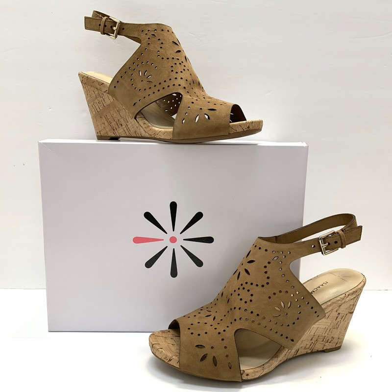 Isaac Mizrahi Live Wedges<br /> NEW From QVC<br /> Mocha Suede<br /> Size: 8.5 W