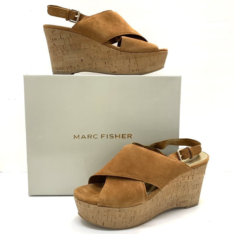Marc Fisher Wedge Sandals<br /> Cognac Suede<br /> Worn once!<br /> Size: 9