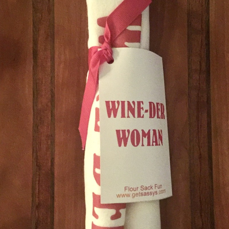 Wine-der Woman<br /> Flour Sack Towel<br /> 30x30 100% Cotton<br /> Featured by Whimsy Chick Designs