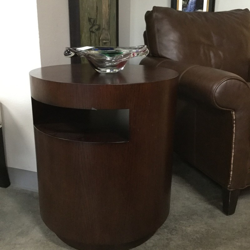 "Round Side Table, Brown Wood, Size: 21""x24"""