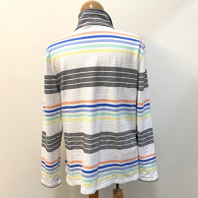T by Talbots 50+ UPF Pullover<br /> White, Black, & Multicolor Stripe<br /> Size: Large