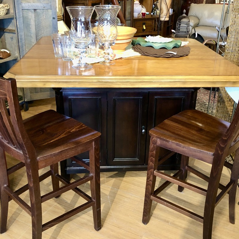 "Kitchen Island/Pub Table with lots of storage. Underneath is a cabinet and wine storage and comes with a leaf for expansion!  Size: 17"" Sq"