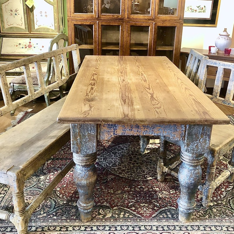 Gorgeous Rustic Table with Bench & 2 Chairs<br /> Size: 4 Pcs
