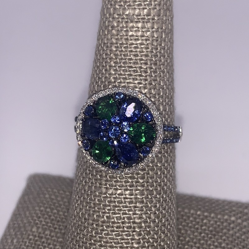 18K WG 2.25 ctw Sapphire/Tsavorite Ring with 36 Brilliant white Diamonds.<br /> <br /> The perfect Seattle Seahawks Ring ;)<br /> <br /> 18k 2.25 Ctw Sapp/Tsavorite , Size: BCHH