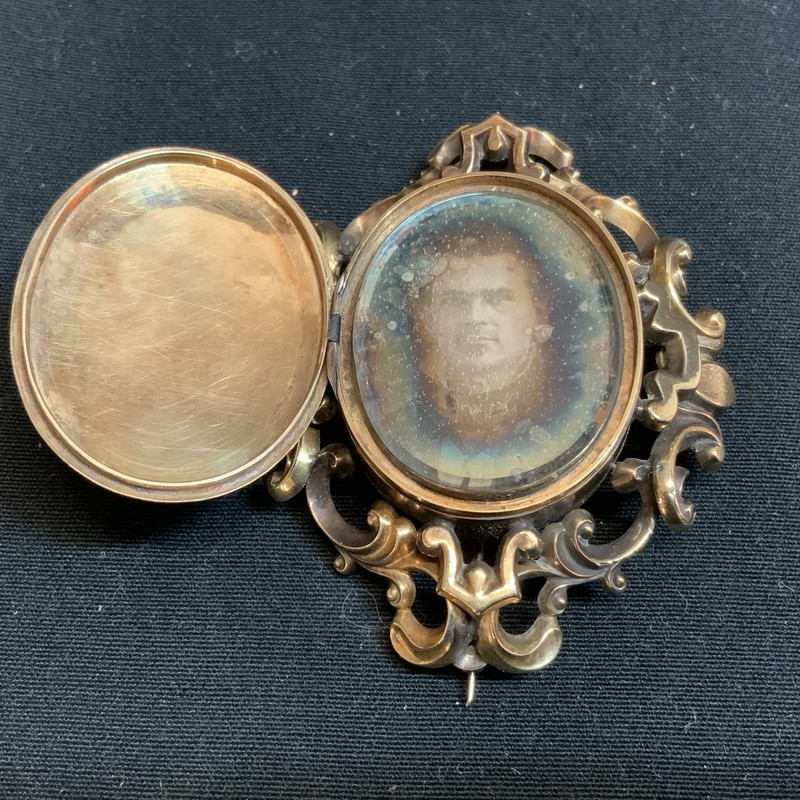 Locket With Tintype Image.
