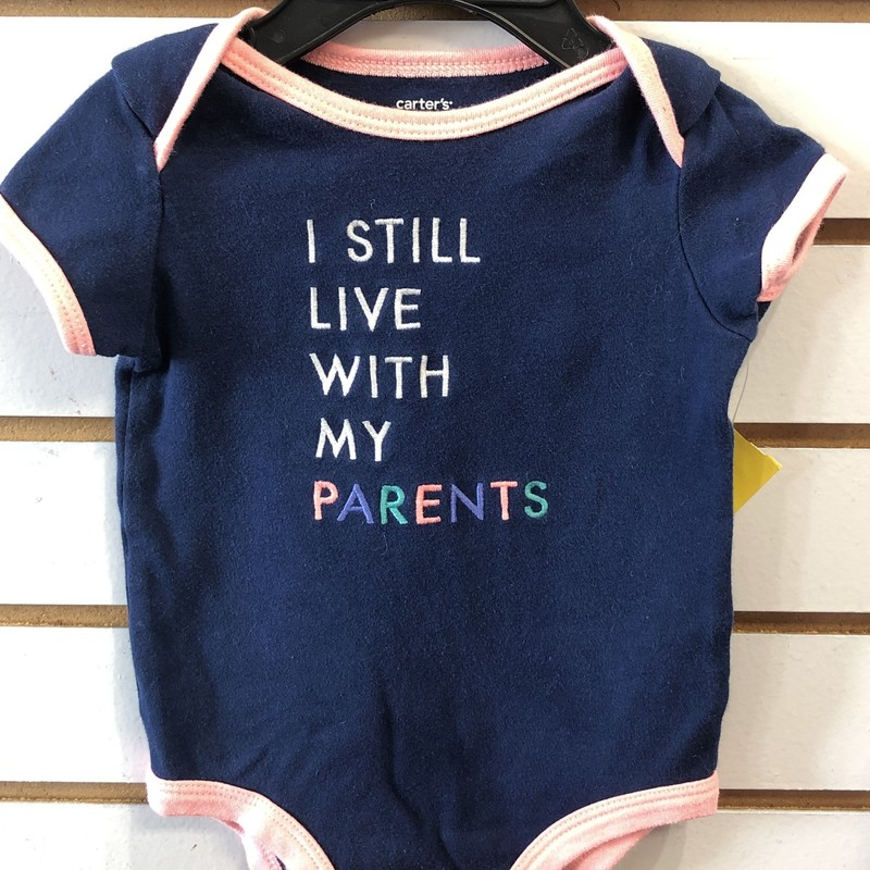 Carters/  I still live with my parents onesie, Blue, Size: 9M