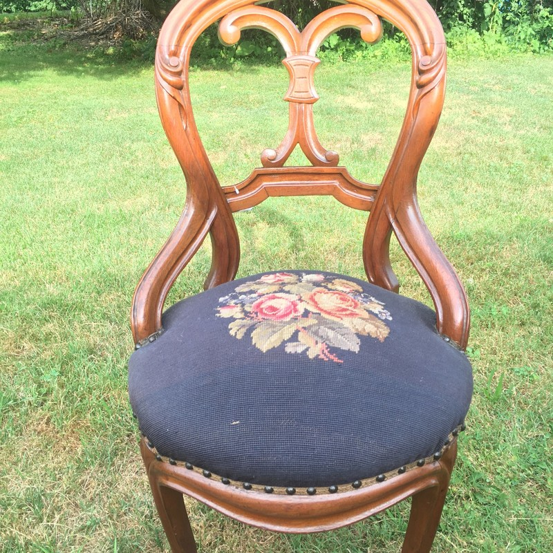 Victorian Chair, beautiful upholstery.<br /> Great accent piece!<br /> <br /> This piece is for pickup only.  Not to be shipped.<br /> <br /> Subject to 7% PA Sales tax upon purchase.<br /> <br /> Call for 24hour hold.