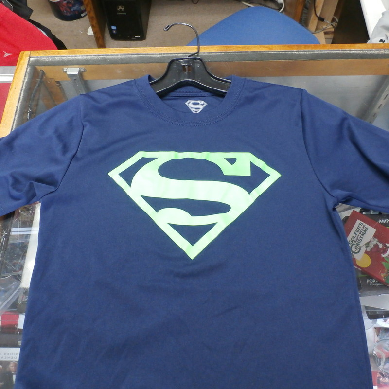 "Child's blue Superman shirt size medium (8) polyester #21390<br /> Rating: (see below) 3- Good Condition<br /> Team: n/a<br /> Player: n/a<br /> Brand: unknown<br /> Size: medium (8) (Measured Flat: chest 15"", length 20"")<br /> Color: blue<br /> Style: short sleeve; screen printed<br /> Material: 100% polyester<br /> Condition: 3- Good Condition - some pilling and fuzz; wrinkles; some stretching and wear from washing and wearing; one small hole on back; otherwise in very good shape (see photos)<br /> Item #: 21390<br /> Shipping: FREE"