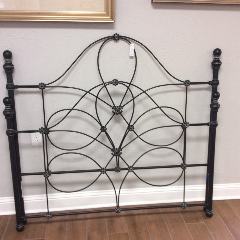 BARGAIN ALERT!!! This queen bed just needs your mattress and box spring to complete it. The headboard and footboard are wrought iron and there is a sturdy steel frame, too. ONLY $295!!