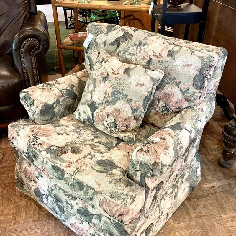 "UPHOLSTERED FLORAL CHAIR with pillow<br /> Perfect condition! Only One Left!  Colors are sage green and soft pink and are very comfortable!<br /> 29"" wide<br /> 33"" deep<br /> 35"" high"