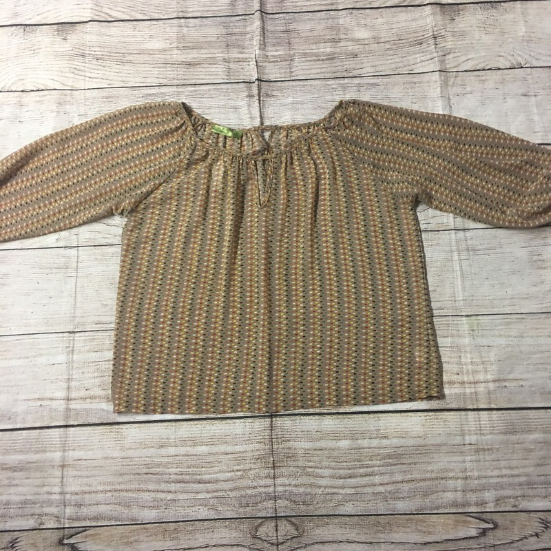 Tan blouse with multi colored pattern.  Size Large and in great condition!
