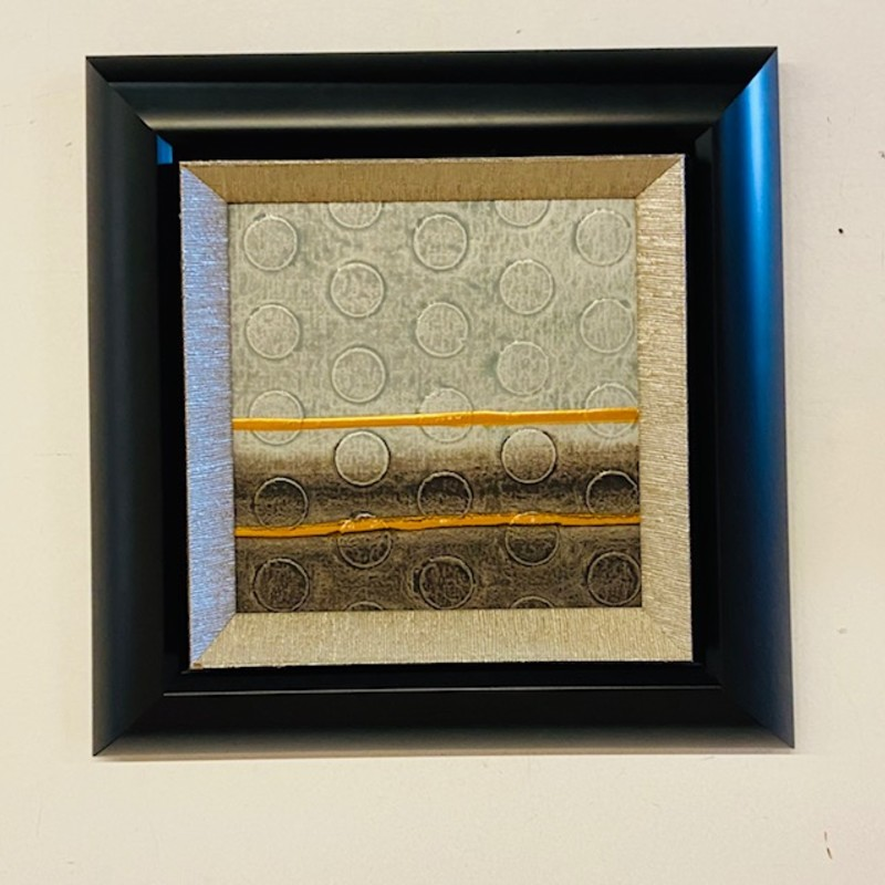 ModernTextured Abstract<br /> Black Frame<br /> Gray Blue Silver  Size: 17x17H