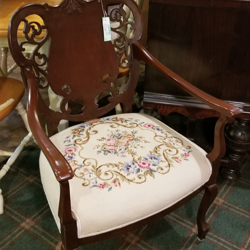 Upholstered Antique Chair, None, Size: None