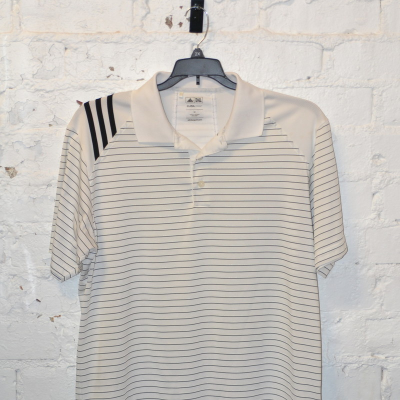 -Adidas<br /> -Climacool<br /> -White with black pinstripes<br /> -Size medium