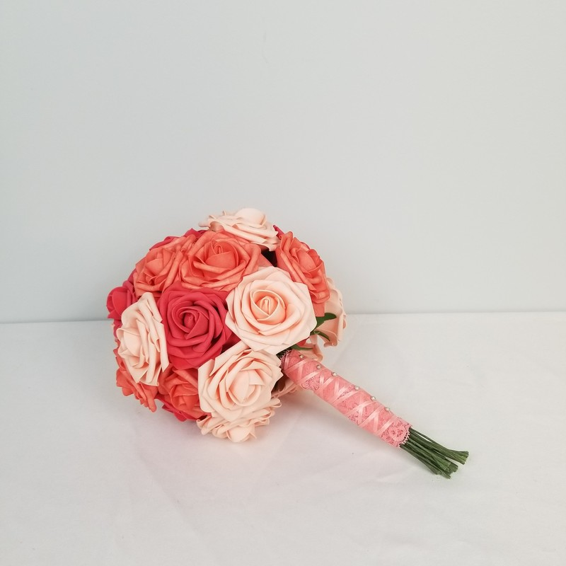 Foam Rose Bouquet, Coral, Size: Medium