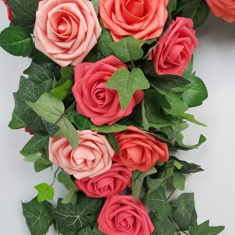 Corner Floral Arrangement, Coral/Green, Size: 28x28<br /> Foam Roses and Ivy. Clips included for hanging.