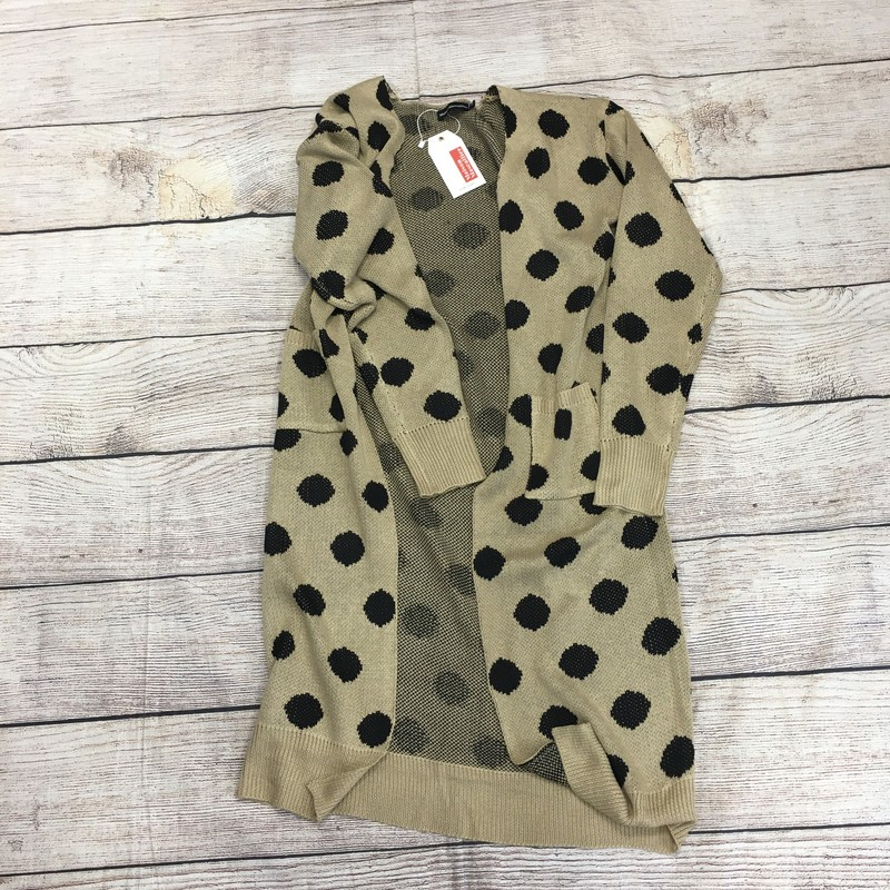New tan cardigan.  Size XL and in perfect condition.  Has a black polka dotted pattern.