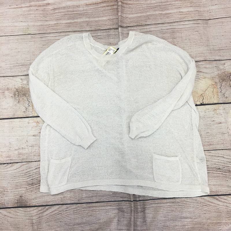White sweater, size large.  In perfect condition!