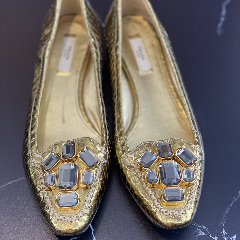 Metallic Gold Prada Shoes, Gold, Size: 39<br /> New condition Jeweled Prada Snakeskin shoes with tiniest of heel.<br /> Final Sale. Ships with Insurance