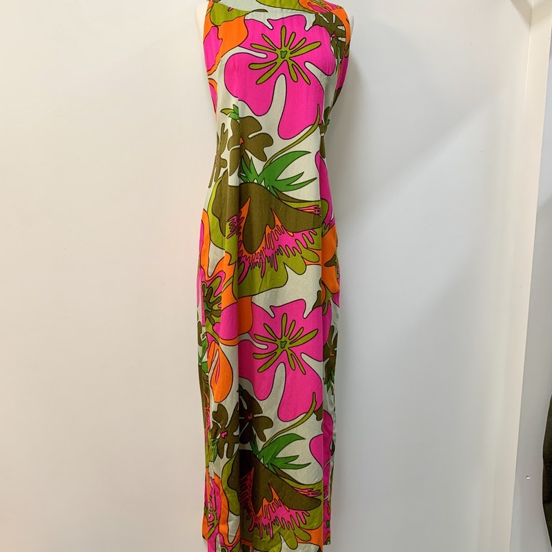 Tohki Hawaii Dress<br /> 1960s Vintage<br /> Pink, Orange, Olive, Taupe<br /> Size: Small