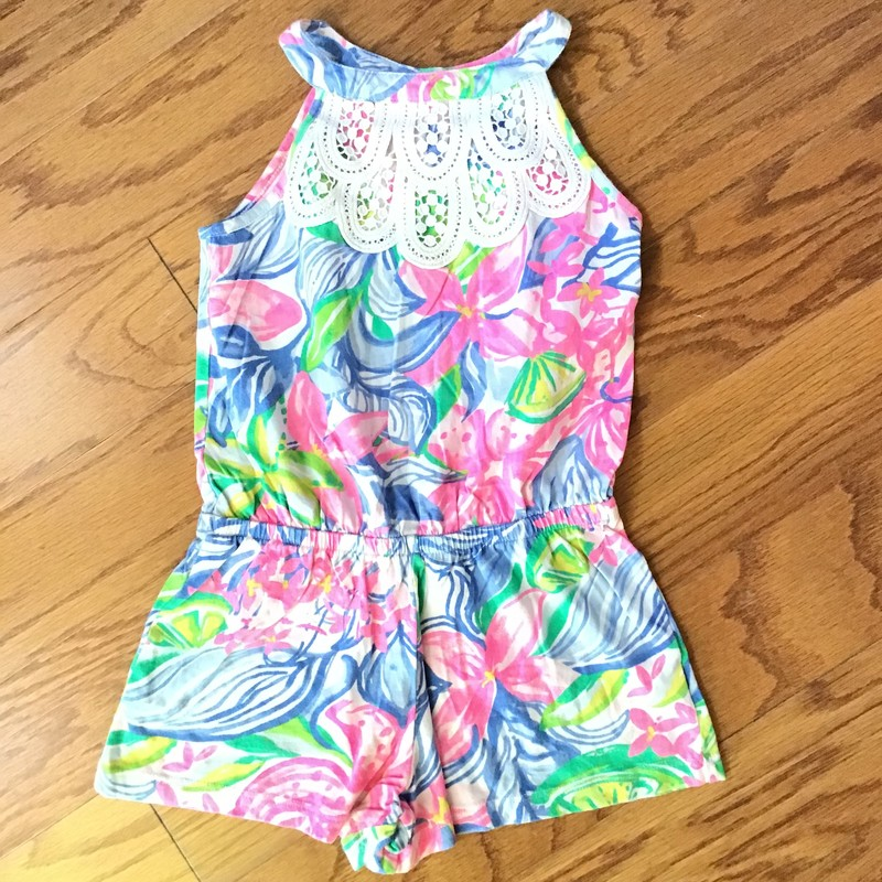 Lilly Pulitzer Romper, Pink, Size: 4-5<br /> <br /> slightest fading<br /> <br /> <br /> ALL ONLINE SALES ARE FINAL. NO RETURNS OR EXCHANGES. PLEASE ALLOW 1 TO 2 WEEKS FOR SHIPMENT.