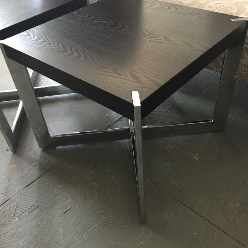 Metal & Wood Side Table, Black, Size: 21x21x18