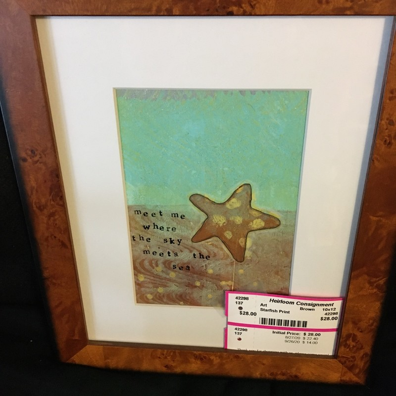 Starfish Print, Brown, Size: 10x12