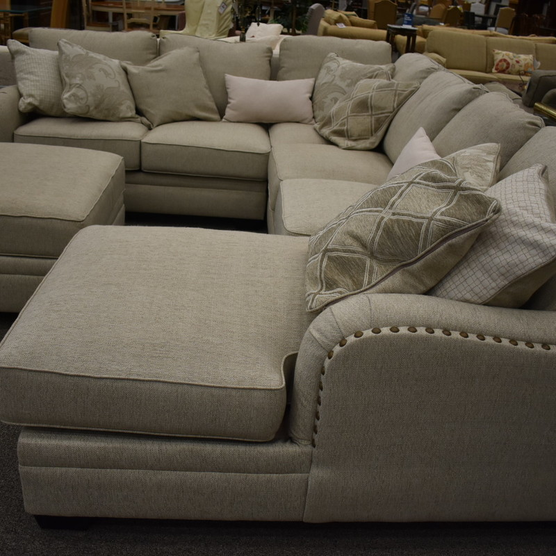 Fabric Sectional with Nail heads