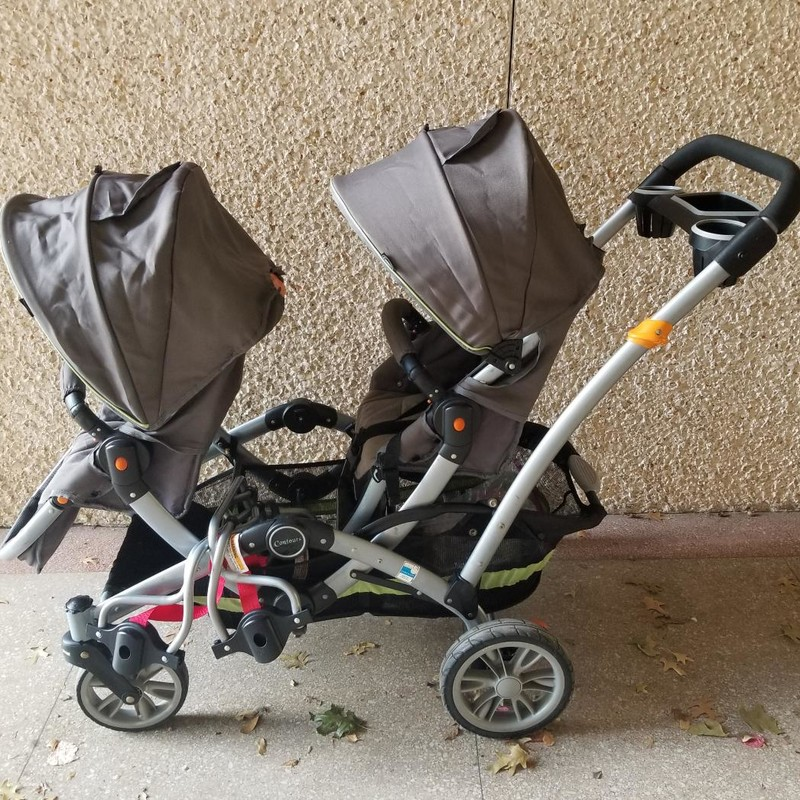 Contours Double Tandem Stroller<br /> Holds 40lbs PER SEAT, 80lbs max.<br /> Seats change position & recline.<br /> Includes 2 carseat attachments.<br /> Includes 2 clip-on cup holders.<br /> Includes 2 head supports.<br /> Comes with manual.<br /> Older model in good condition!<br /> New models are $400-$600<br /> More info found online<br /> NO SHIPPING, STORE PICKUP ONLY