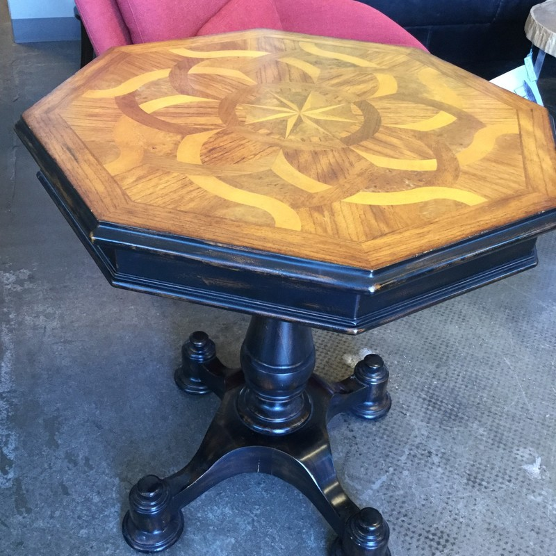 "Octagone Inlaid Table, As Is, Inlaid Wood, Size: 28""X28""X29"""