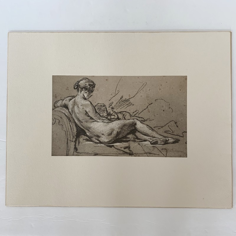"This intricate Boucher print depicts familial comfort in the context of rapidly changing times. Will be a great addition to your home!<br /> <br /> Painting size: 10.75x6.5""<br /> All: 18x14.25"""