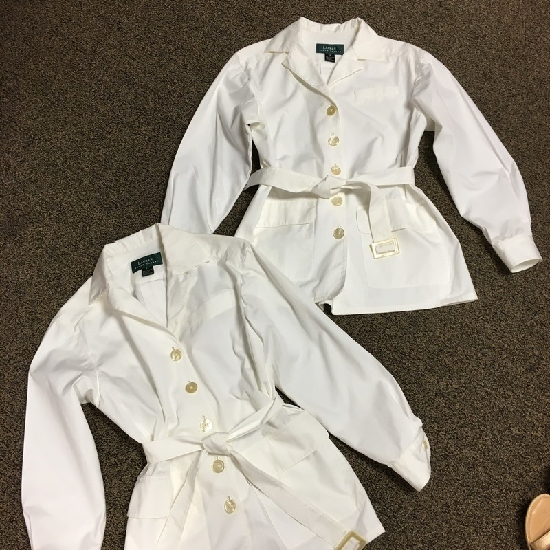 NEW Lightweight Jacket, Ivory, Size: 6 & 8.  From the picture you can see that this is a lightweight jacket but could also be a shorter trench coat.